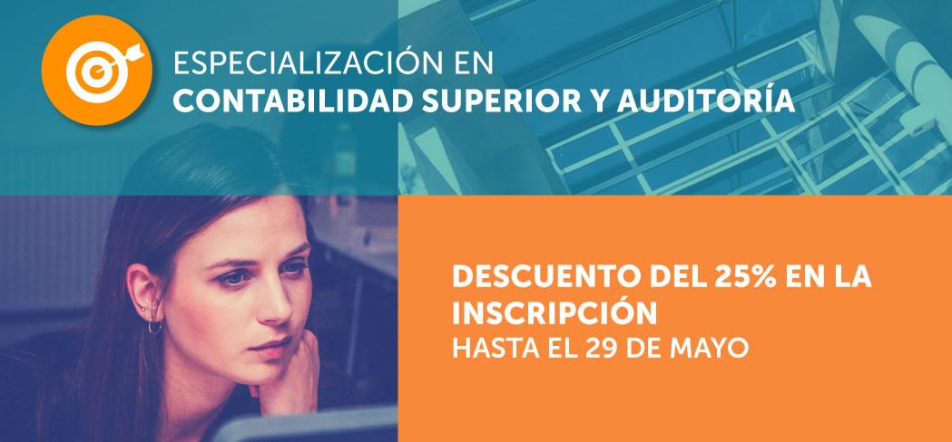 Banner de promoción de la Especialización en Contabilidad Superior y Auditoría
