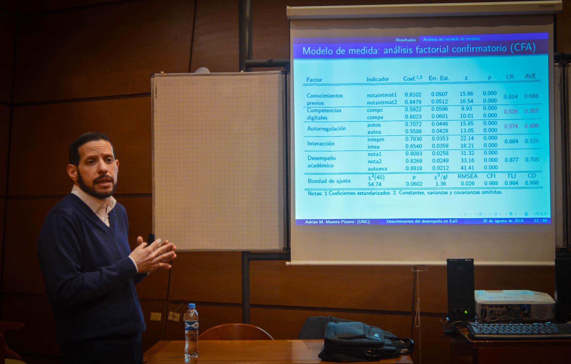 Imagen del profesor Adrián Moneta Pizarro exponiendo su tesis