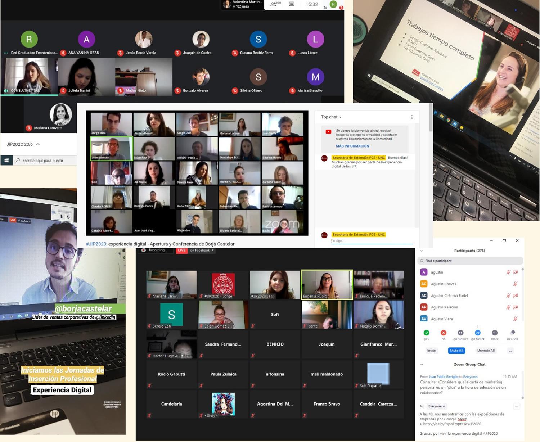 Varias tomas de pantalla de computadoras donde se ven sesiones de videollamadas de las Jornadas de Inserción Profesional