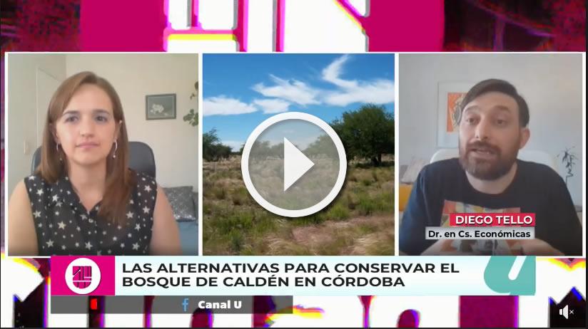 Reproductor del video donde están la conductora del programa, Diego Tello y un bosque de caldén