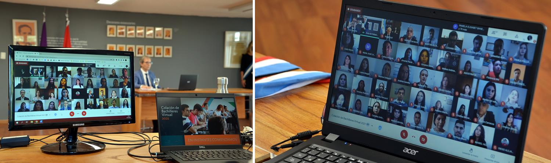 Dos monitores de computadora donde aparecen graduados y graduadas de Bachiller Universitario