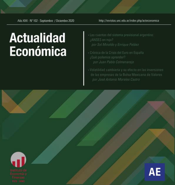 Portada de la revista Actualidad Económica, con los títulos de los artículos del número 102 y al pie figuran los logos del Instituto de Economía y Finanzas y de la revista