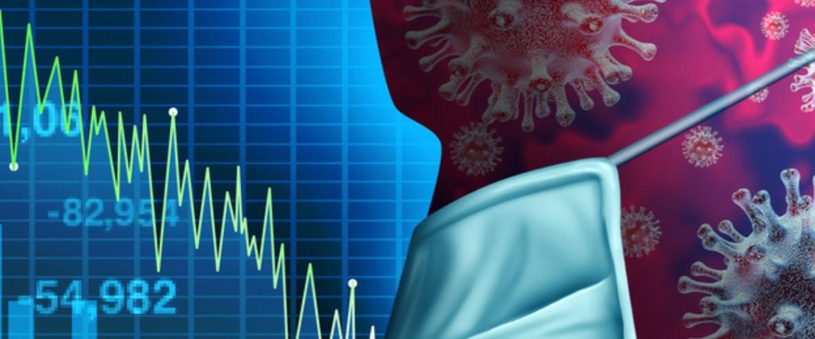 Unos indicadores financieros y la silueta de una cabeza de una persona con barbijo y varios dibujos de cepas de coronavirus