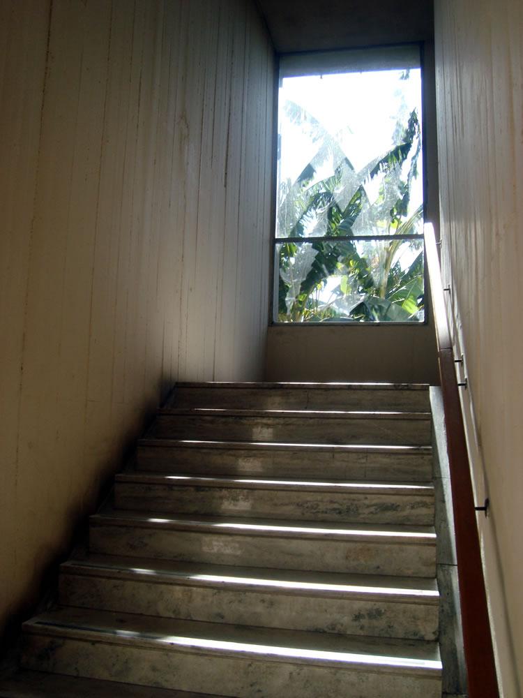 Escaleras del edificio de la Facultad y un vidrio al final en un día soleado