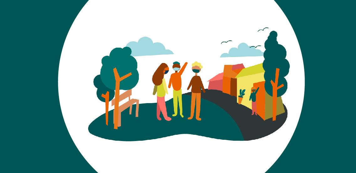 Un dibujo de tres personas al aire libre con árboles y casas alrededor y nubes en el cielo