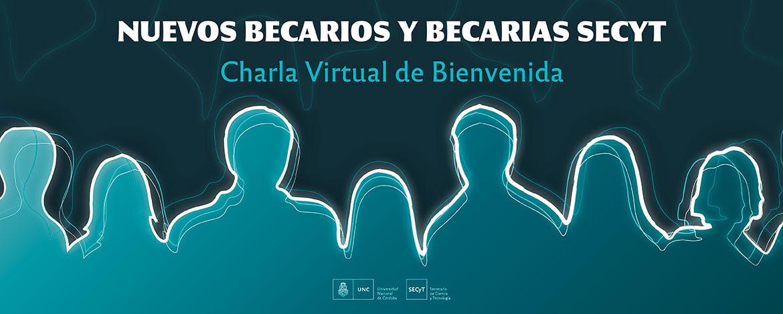 Siete siluetas de personas dibujadas y la información sobre la charla virtual de bienvenida