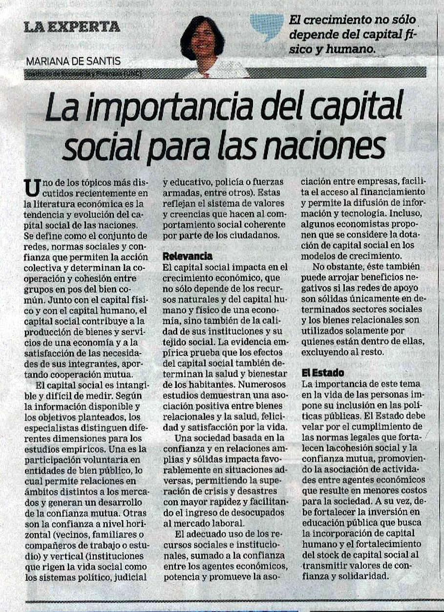 La importancia del capital social para las naciones, por Mariana De Santis, investigadora del IEF